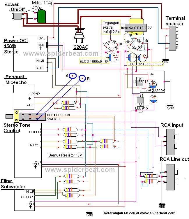Rangkaian: Cara merakit amplifier 150watt plus cho, microphone, radio FM USB,
