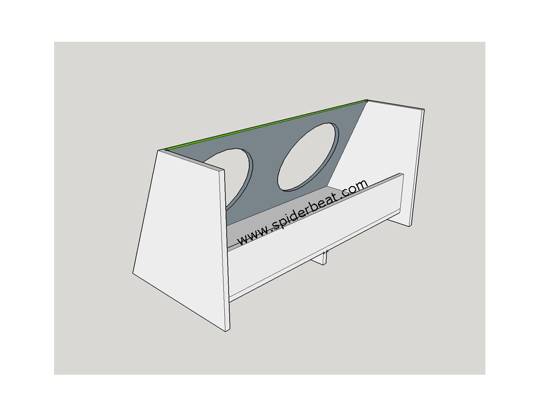 box subwoofer mobil 2 speaker 12 inch tampak belakang perspektif