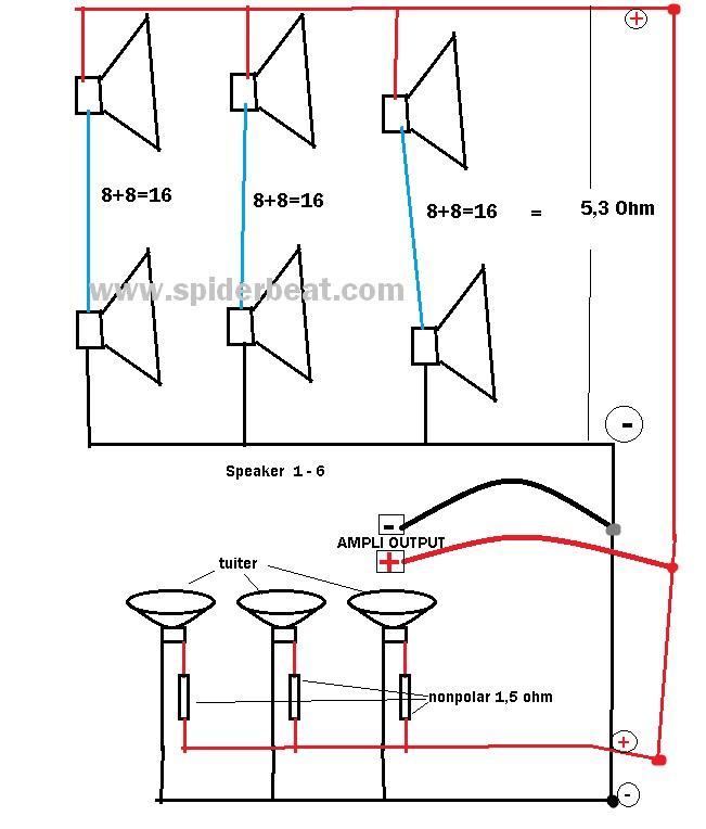 Gambar rangkaian speaker 8 ohm sebanyak 6 buah