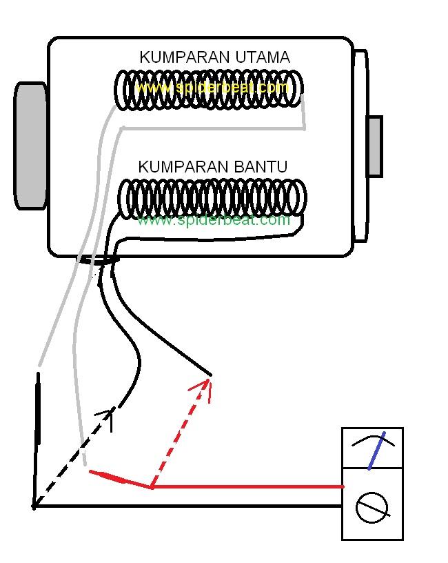 memasang kapasitor pompa air