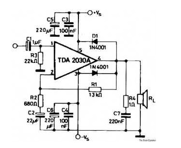 Skema mini amplifier dengan IC TDA2030