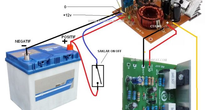 Cara memasang inverter untuk power OCL 150W