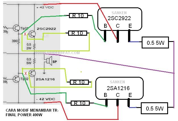 Gambar cara modifikasi menambah tr final power ocl 400w