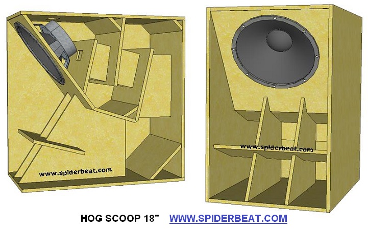 Skema desain box speaker hog scoop 18 inch