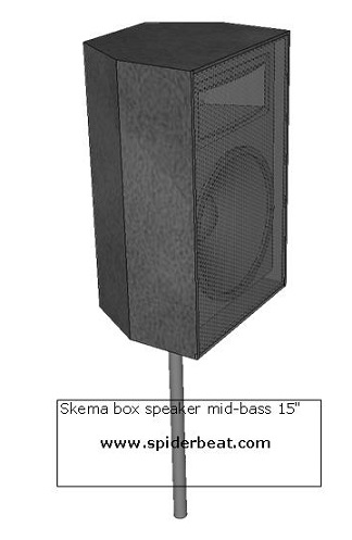 Box speaker mid bass 15 inch stand