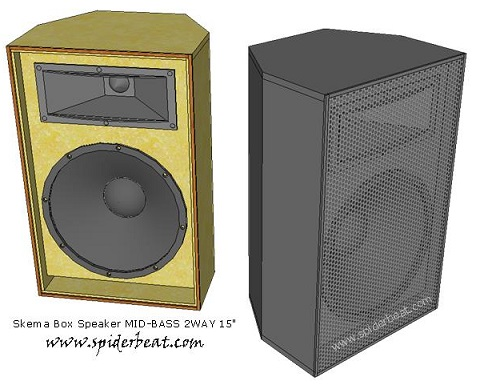 skema box speaker mid bass 2 way 15 inch