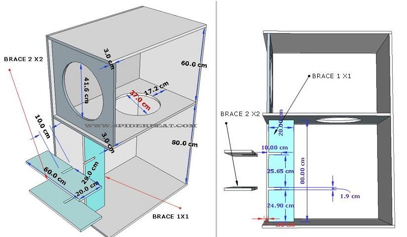 skema box speaker cbs sekat dan brace