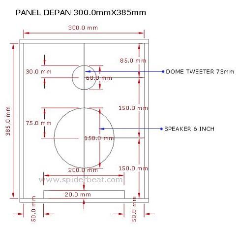 ukuran panel depan desain speaker 6 inch
