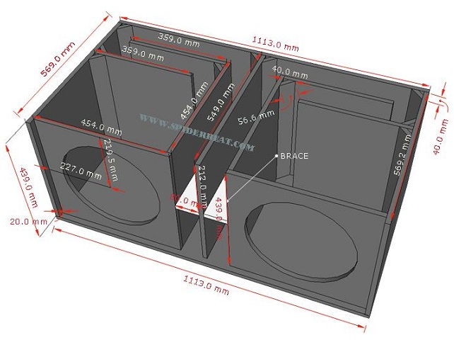 desain skema box speaker bass 15 double