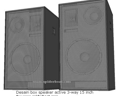 Desain box speaker 15 inch 3 way