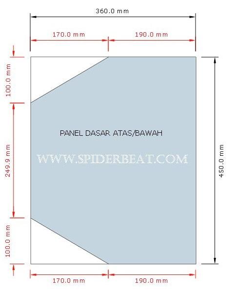 Ukuran panel atas dan bawah box 15x2plus 1 tweeter