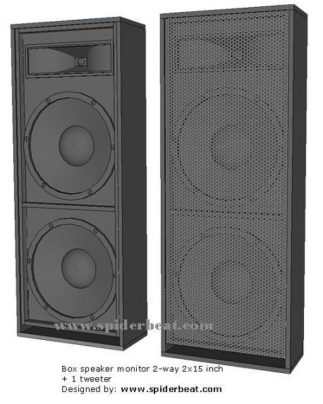 desain speaker monitor 15x2 plus 1 tweeter corong