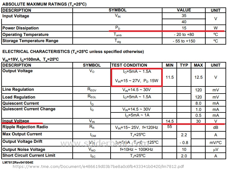 IC 7812 Voltage regulator karakteristik