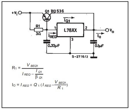 Rangkaian regulator yang meningkatkan arus dengan IC 78xx