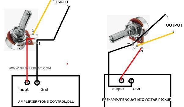 cara memasang potensiometer input output