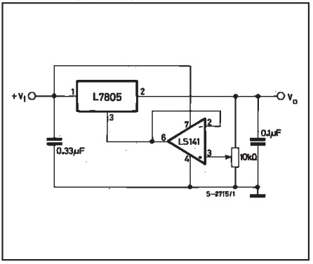 rangkaian regulator bisa diatur tegangan dengan 7805