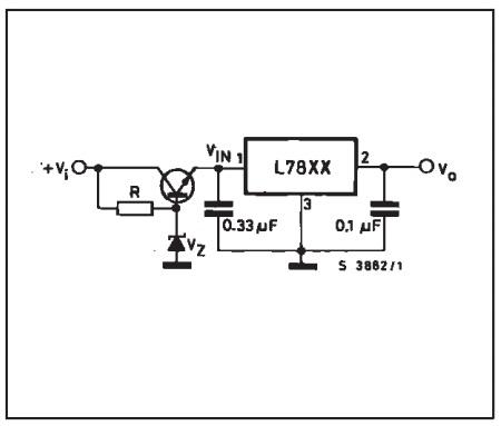 regulator dengan IC 78xx tegangan input diperbesar