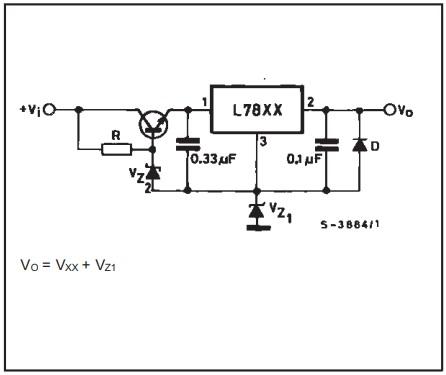 skema regulator dengan meningkatkan tegangan input dan ouput IC 78xx