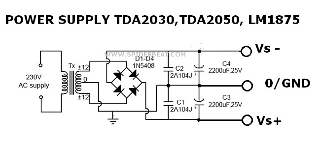 Power supply TDA2030,TDA2050,LM1875