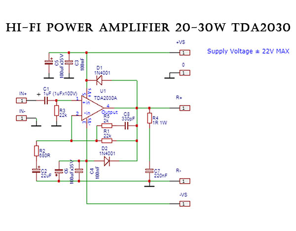 Skema power amplifier TDA2030