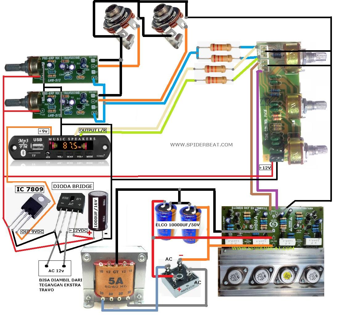 CARA MERAKIT AMPLIFIER DAN MIC RADIO USB BLUETHOOT