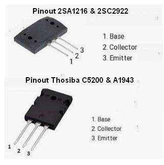 Pinout thosiba C5200 dan A1943 dan sanken 2SC2922 dan A1216