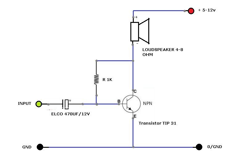 Merakit Amplifier sangat sederhana dengan 1 transistor