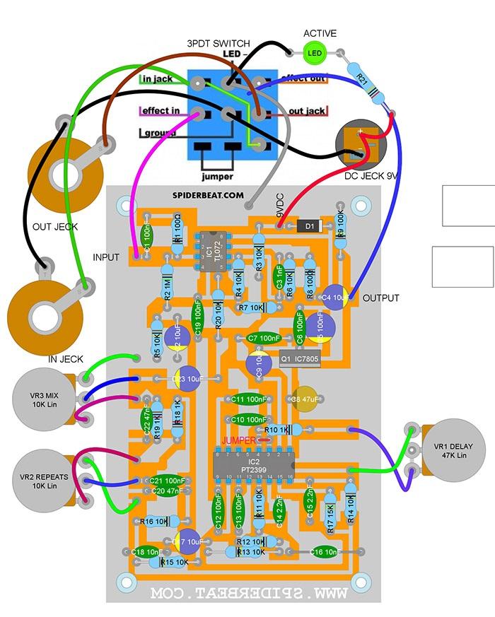 layout PCB print transfer efek delay gitar electric akustik