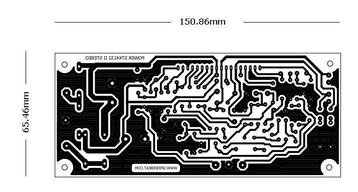 layout bawah PCB power STK 4132 suara jernih