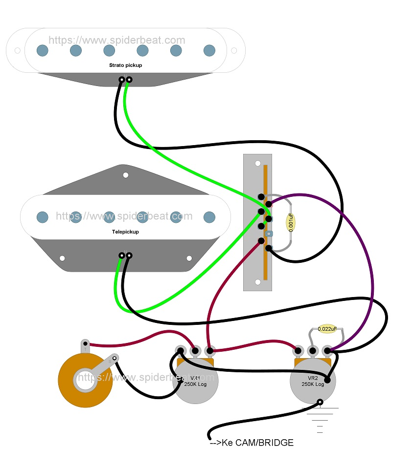 rangkaian gitar telecaster 2 pickup