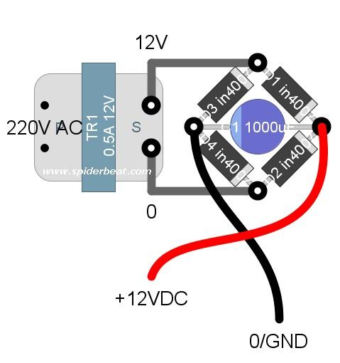 rangkaian power supply 12V sederhana